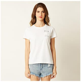 Miss Chase Women's White Cotton Round Neck Short Sleeve Graphic Print T-Shirt