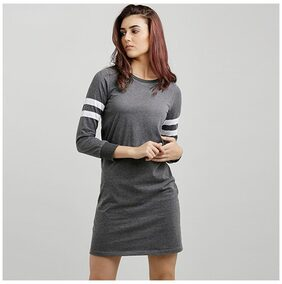 Miss Chase Women's Grey Round Neck Full Sleeve Solid Knee-Long Panelled Shift Dress
