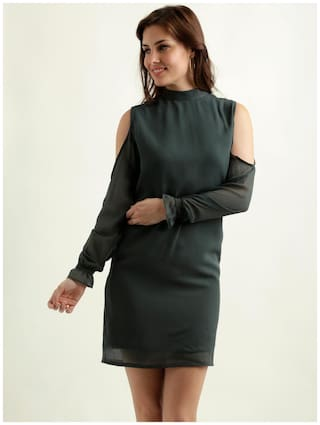 Miss Chase Women's Green Round Neck Full Sleeve Solid Gathered Mini Cold Shoulder Shift Dress