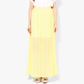 Miss Chase Women's Yellow Mid Rise A-Line Printed Maxi Skirt