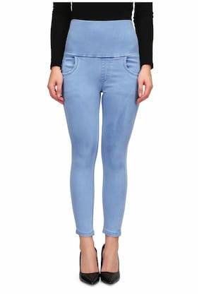 Miss Wow Women Slim Fit Mid Rise Self Design Jeans - Blue