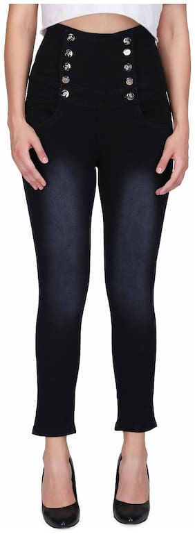 Miss Wow Women Slim Fit Mid Rise Self Design Jeans - Black