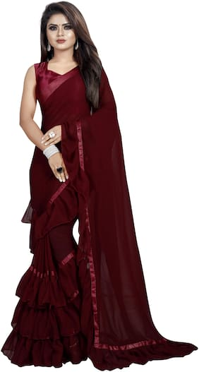 Moah Georgette Universal Sarees Maroon