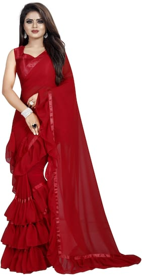 Moah Georgette Universal Sarees Red