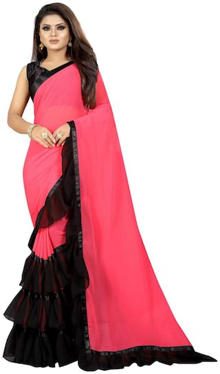 Moah Georgette Universal Sarees Pink