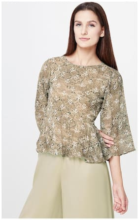 AND Mocha Floral Printed Peplum Top