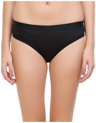 Tace Pack Of 1 Solid Mid Waist Hipster Panty - Black