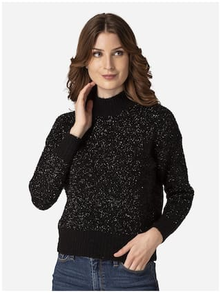 Mode by Red Tape Women Solid Sweater - Black