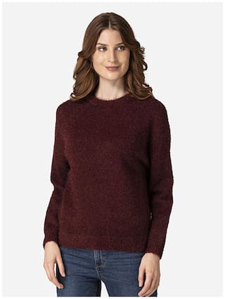 Mode by Red Tape Women Solid Sweater - Maroon