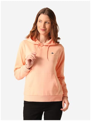 Mode by Red Tape Women Solid Hoodie - Orange