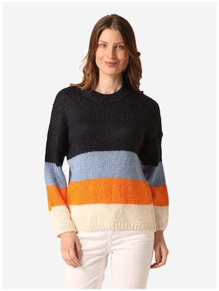 Mode by Red Tape Women Colourblocked Sweater - Multi