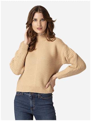 Mode by Red Tape Women Self Design Sweater - Beige
