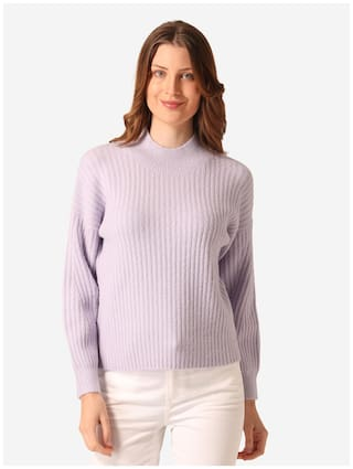 Mode by Red Tape Women Solid Sweater - Purple