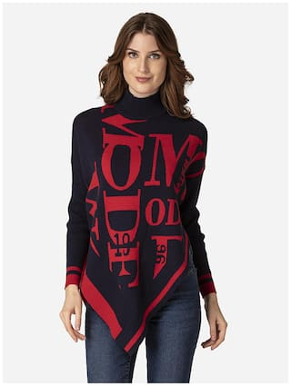 Mode by Red Tape Women Printed Sweater - Navy Blue
