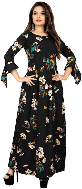 MODELTY Black Floral Maxi dress