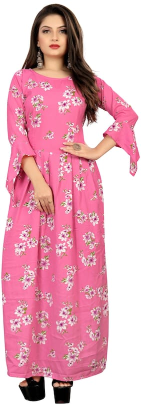 MODELTY Pink Floral Maxi dress