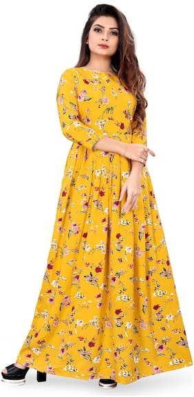 MODELTY Yellow Floral Maxi dress