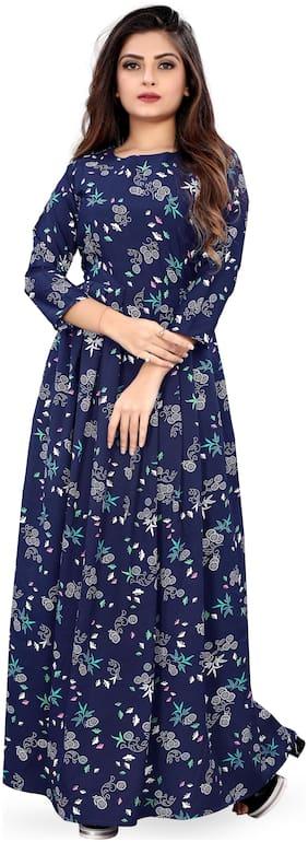Modelty Crepe Floral Navy Blue Dresses For Women