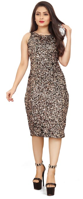 MODELTY Brown Embellished Bodycon dress