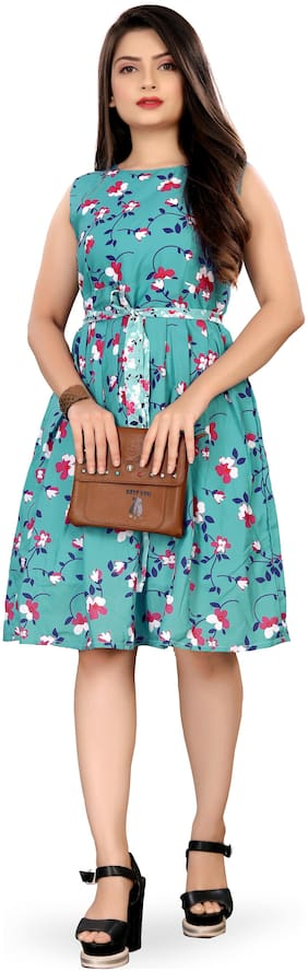 MODELTY Turquoise Floral Fit & flare dress