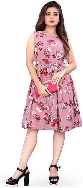 MODELTY Pink Floral Fit & flare dress