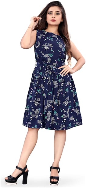 MODELTY Blue Floral Fit & flare dress