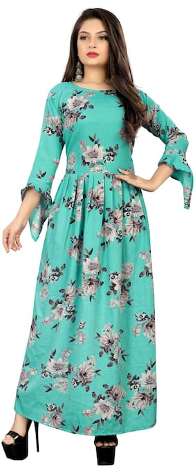 MODELTY Turquoise Floral Maxi dress