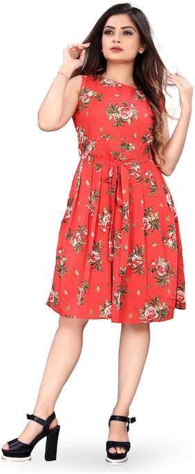 MODELTY Red Floral Fit & flare dress