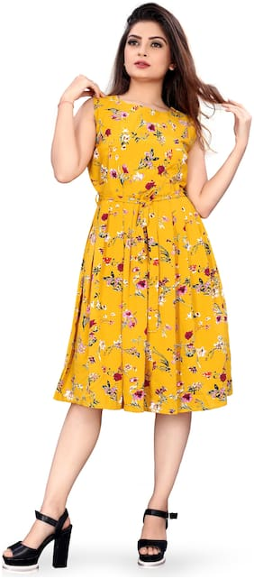 MODELTY Yellow Floral Fit & flare dress