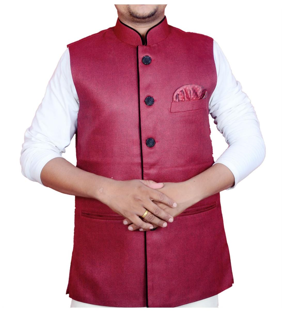 600f9a32330aa3 Buy Modi Jacket / Nehru Jacket Maroon Color Online at Low Prices in India -  Paytmmall.com