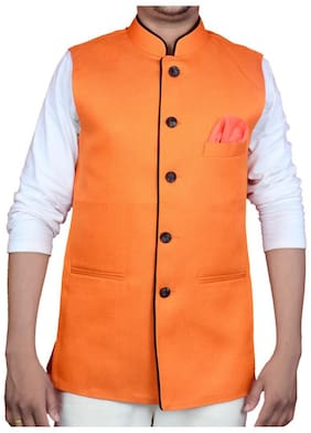 S.K. ELECTROMECH Men Orange Solid Regular Fit Ethnic Jacket
