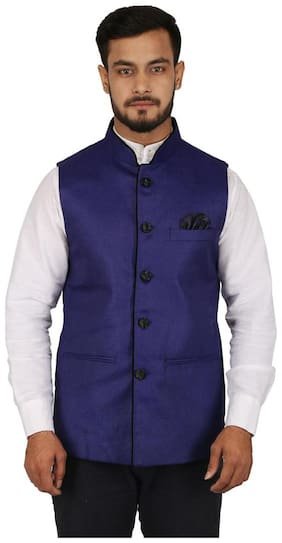 Singhal Fashions Men Blue Solid Regular Fit Ethnic Jacket