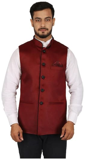 Singhal Fashions Men Red Solid Regular Fit Ethnic Jacket