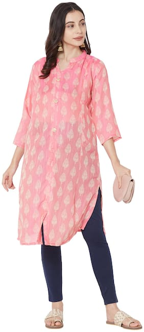 MOM'S BEE Women Maternity Kurta - Pink M