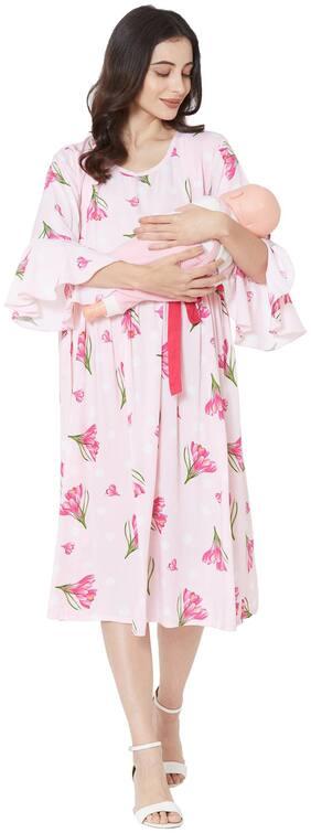 MOM'S BEE Women Maternity Dress - Pink L