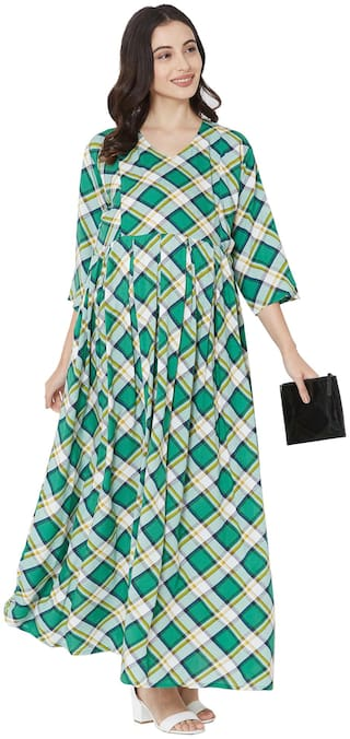MOM'S BEE Women Maternity Dress - Green Xxl