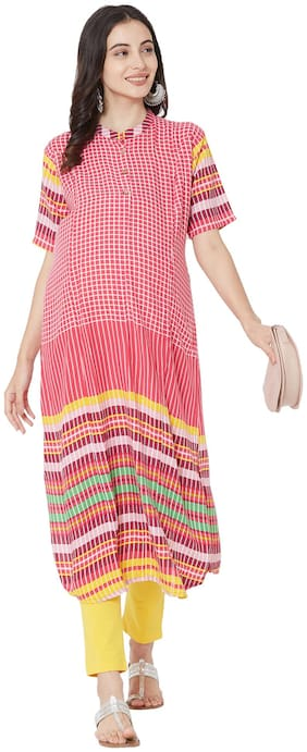 MOM'S BEE Viscose Rayon Multi Checked Dress  For Women