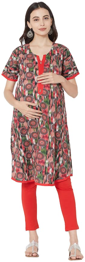 MOM'S BEE Women Maternity Dress - Red Xxl