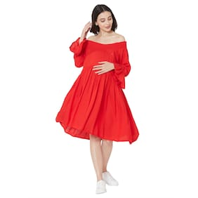 MOM'S BEE Women Maternity Dress - Red L