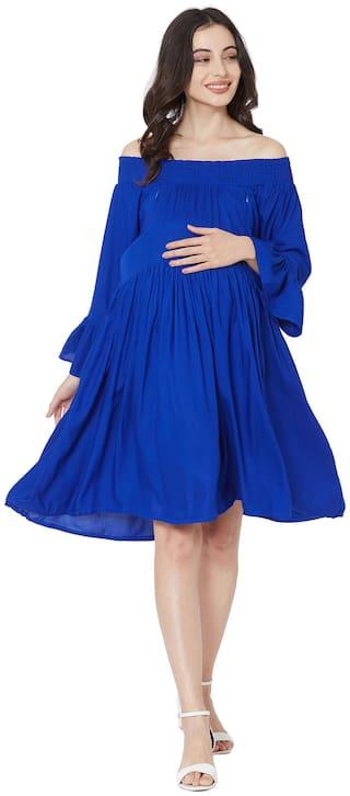 MOM'S BEE Women Maternity Dress - Blue Xl