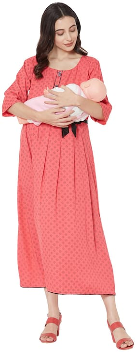 MOM'S BEE Women Maternity Dress - Pink Xxl