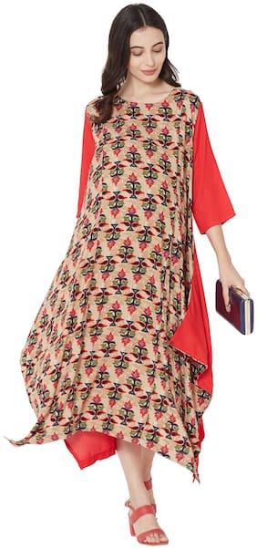 MOM'S BEE Women Maternity Dress - Red & Beige Xxl