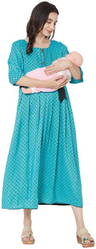 MOM'S BEE Women Maternity Dress - Turquoise L
