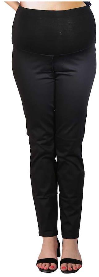 Momtobe Black Cotton Trousers