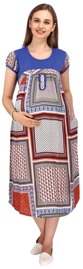 MomToBe Blue Multiprinted Maternity Dress
