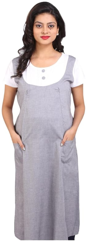 Momtobe Grey And White Maternity Dress