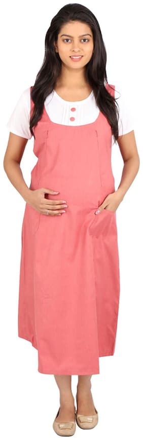 Momtobe Pink And White Maternity Dress