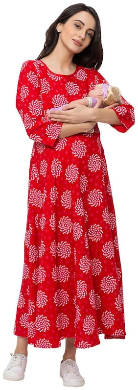 Momtobe Women Maternity Dress - Red L