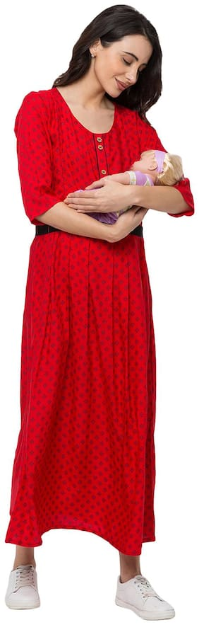 Momtobe Women Maternity Dress - Red Xxl