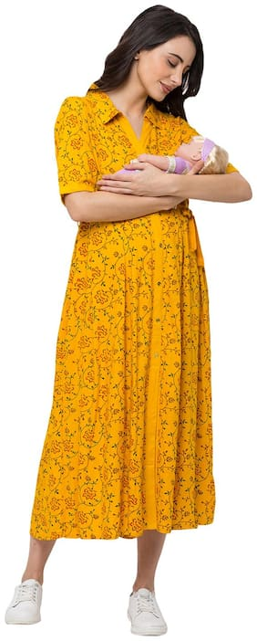 Momtobe Women Maternity Dress - Yellow Xl
